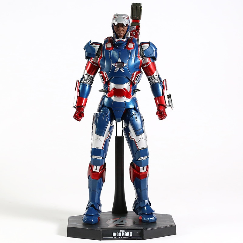Juguetes calientes Iron Man 3 Iron Patriot escala 1/6th figura de pvc en miniatura figuras de juguete con luz LED