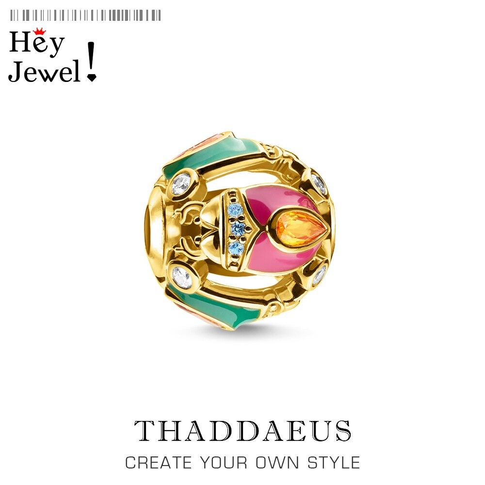 Charme grânulos bug dourado 2020 novo 925 prata esterlina colorido otimismo jóias se encaixa pulseira thomas colar acessórios sorte