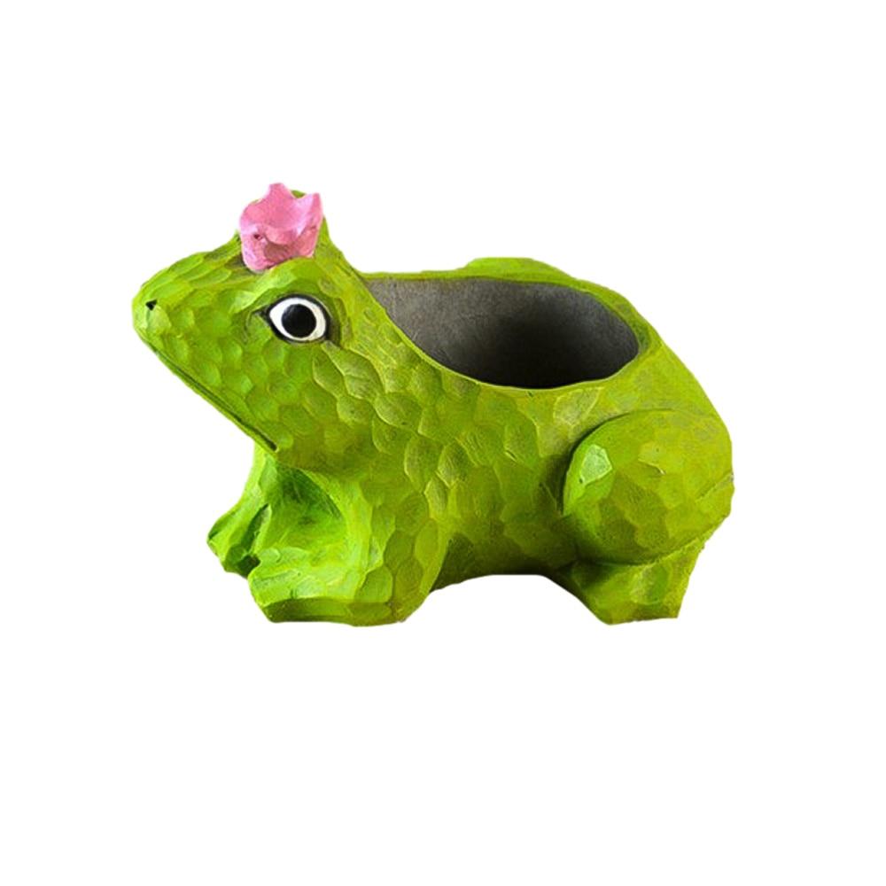 1pc desenhos animados suculentas potes criativo sapo em forma de vasos de flores recipiente de armazenamento de cimento para plantas flores (cor aleatória)