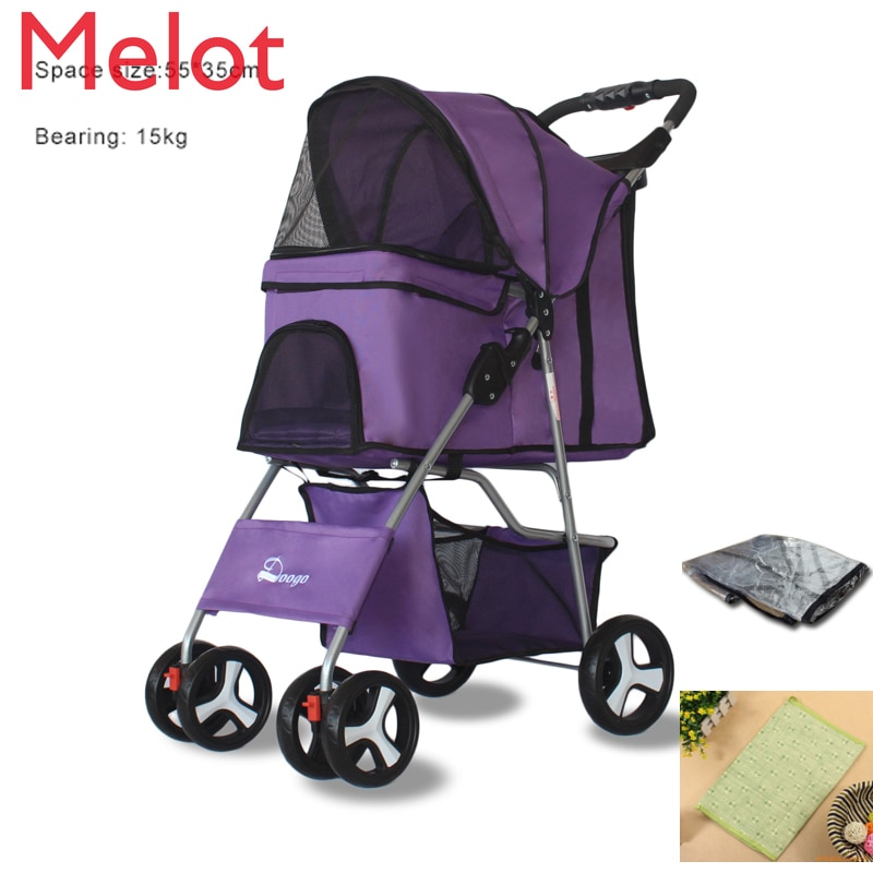Outdoor Pet Cart Dog Cat Carrier Pet Stroller  Multicolor 600D Oxford Cloth Steel Pipe High-intensity4-wheels One-key Folding