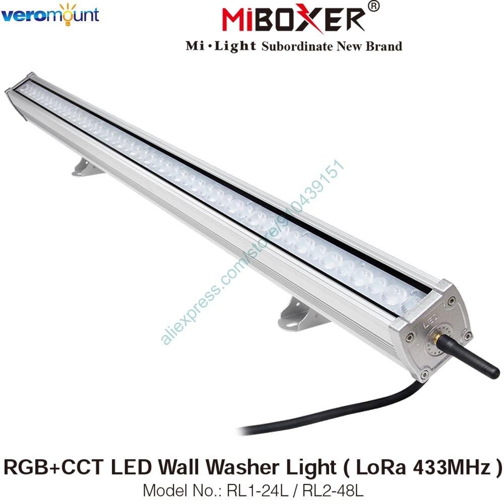 MiBoxer RL1-24L 24W RL2-48L 48W RGB+CCT LED Wall Washer Light ( LoRa 433MHz ) AC110V 220V IP66 Outdoor Remote & APP Control