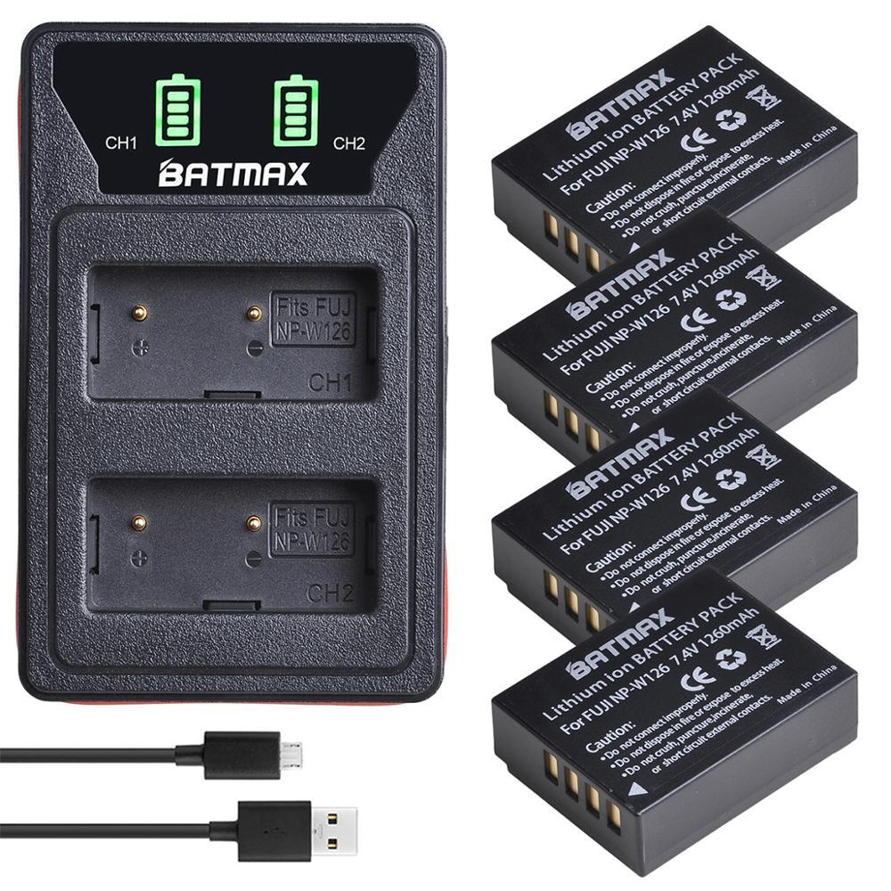 Akgraves + Lcd para Fujifilm Carregador Dual Peças 1260mah np W126 Bateria Np-w126 X-t2 Xt2 Xa3 X-t20 Xt20 X100f Usb 4