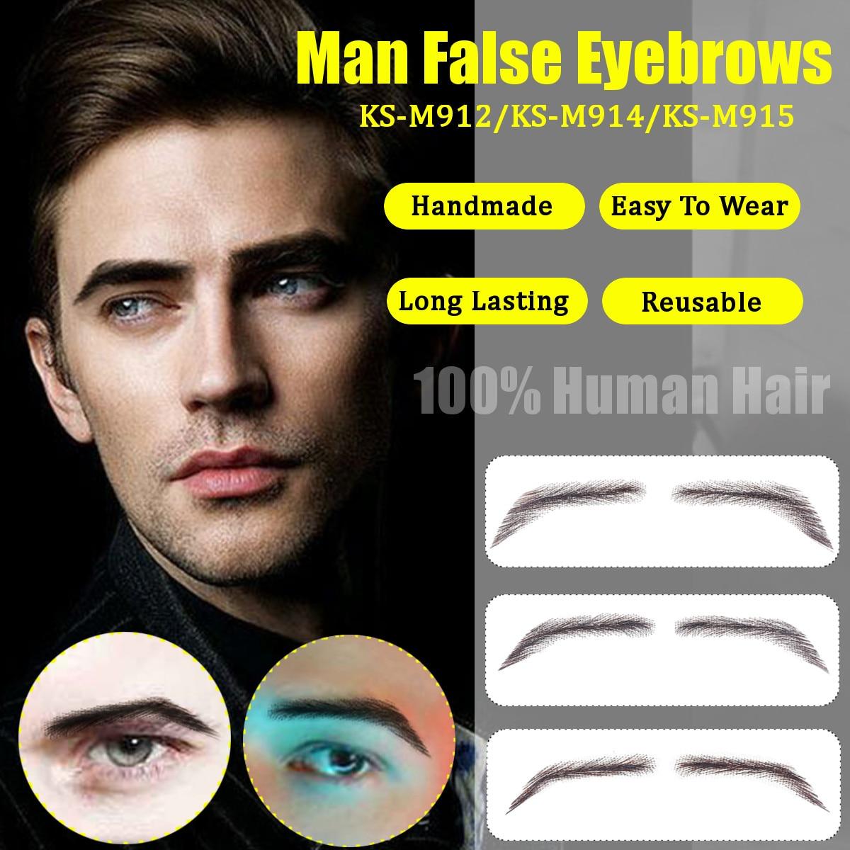 Handmade Human Hair False Eyebrows Lace Base For Man For Party Wedding Cosplay Star Fake Eyebrow Synthetic Eyebrows
