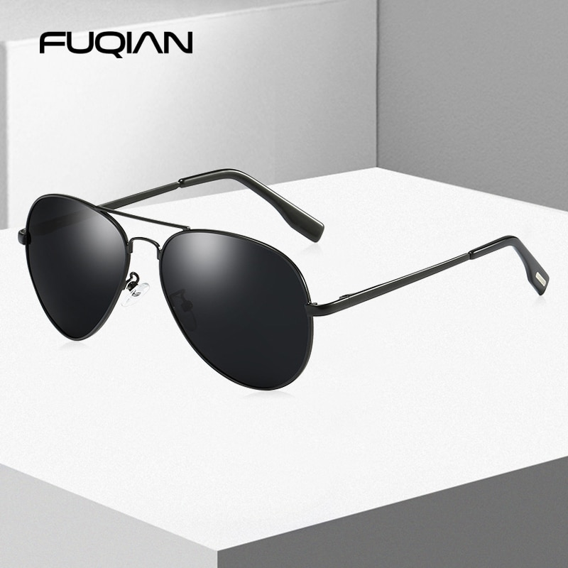 FUQIAN Classic Pilot Polarized Sunglasses Men Fashion Metal Sun Glasses Women Black Driving Eyeglass