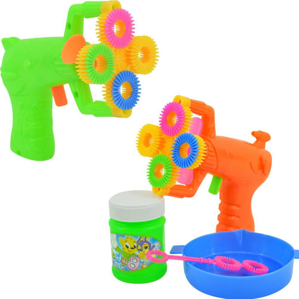 Máquina sopladora de burbujas automática, eléctrica, divertida, de 4 agujeros, para deportes al exterior, juguetes para niños, suministros para bodas, Juguetes