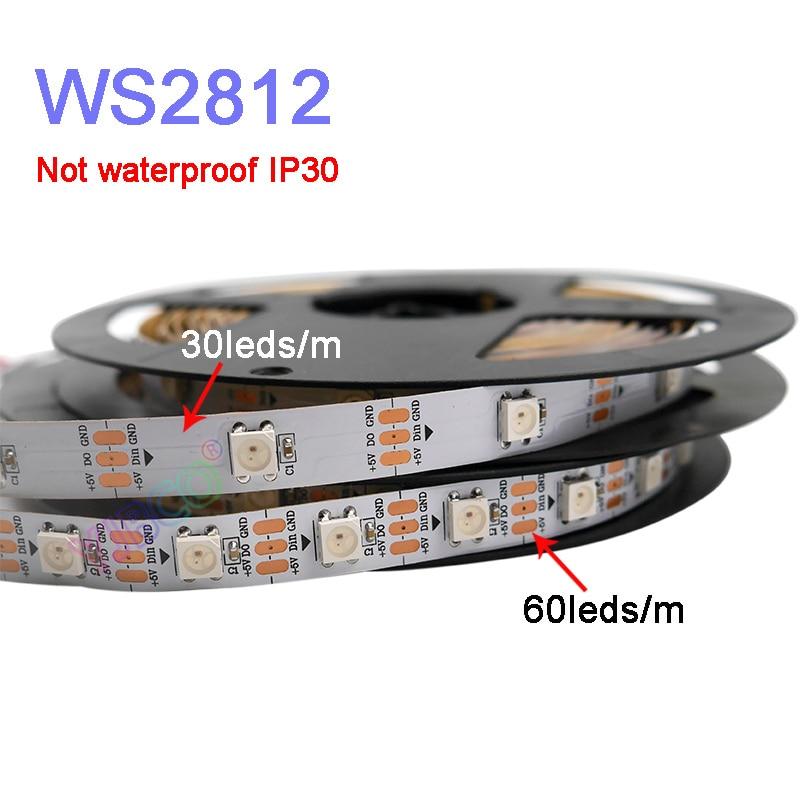 ws2812b ws2812 rgb led strip ws2812 individually addressable ic black white pcb waterproof grade ip30 ip65 ip67 dc5v Smart led pixel strip 5m/lot WS2812B DC5V 30/60 pixels/leds/m;WS2812 IC;WS2812B/M,IP30/IP65/IP67,Black/White PCB