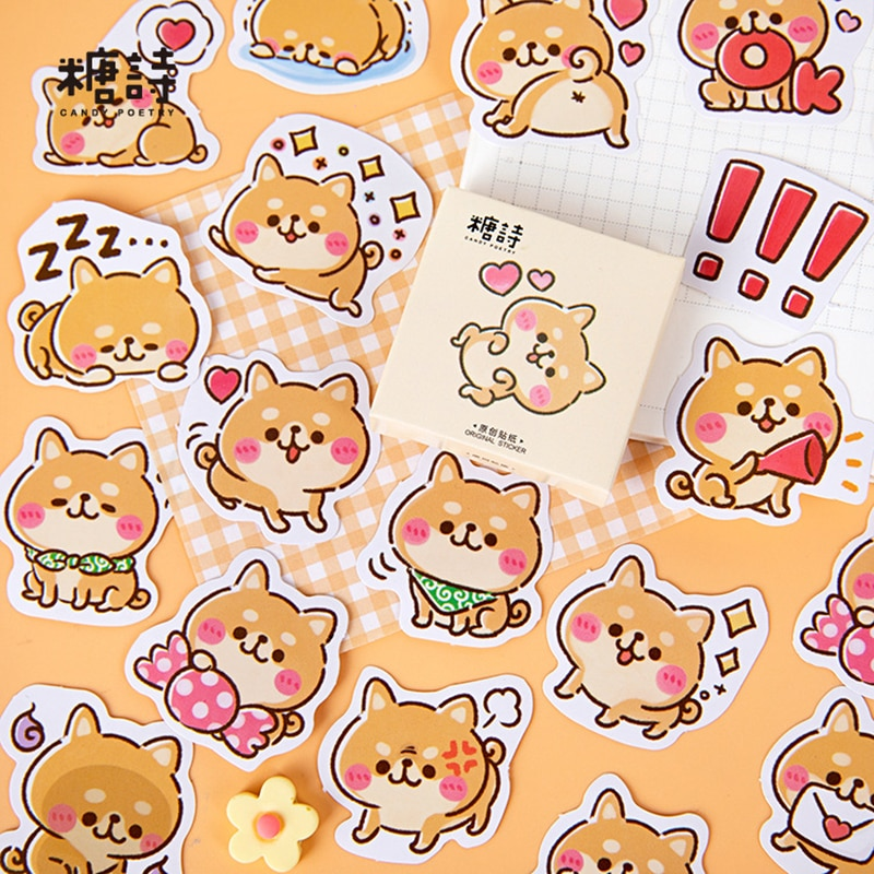 45 pcs /Box Kawaii Puppy Dog World Stickers DIY Stick Label PVC Phone Hand Account Decor Sticker