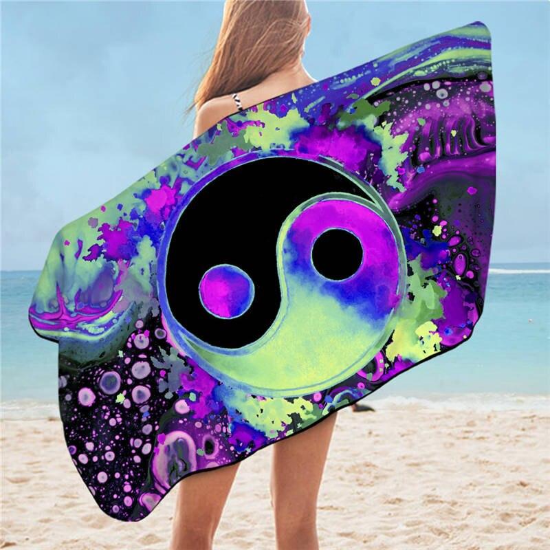 75c * 150cm Toallas de playa coloridas creativas impresas Toalla de baño de microfibra para adultos de secado rápido sin arena toallas de deporte multifunción