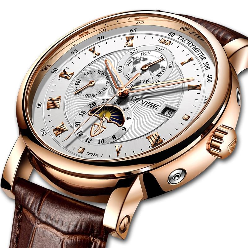 TEVISE Tourbillon Men Watches Fashion Business Automatic Mechanical Watch Men Casual Leather Waterpr