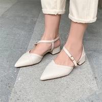 coolulu 2021 spring slingbacks shoes women pointed toe med heels thick heel dress pumps buckle strap female footwear beige 32 43