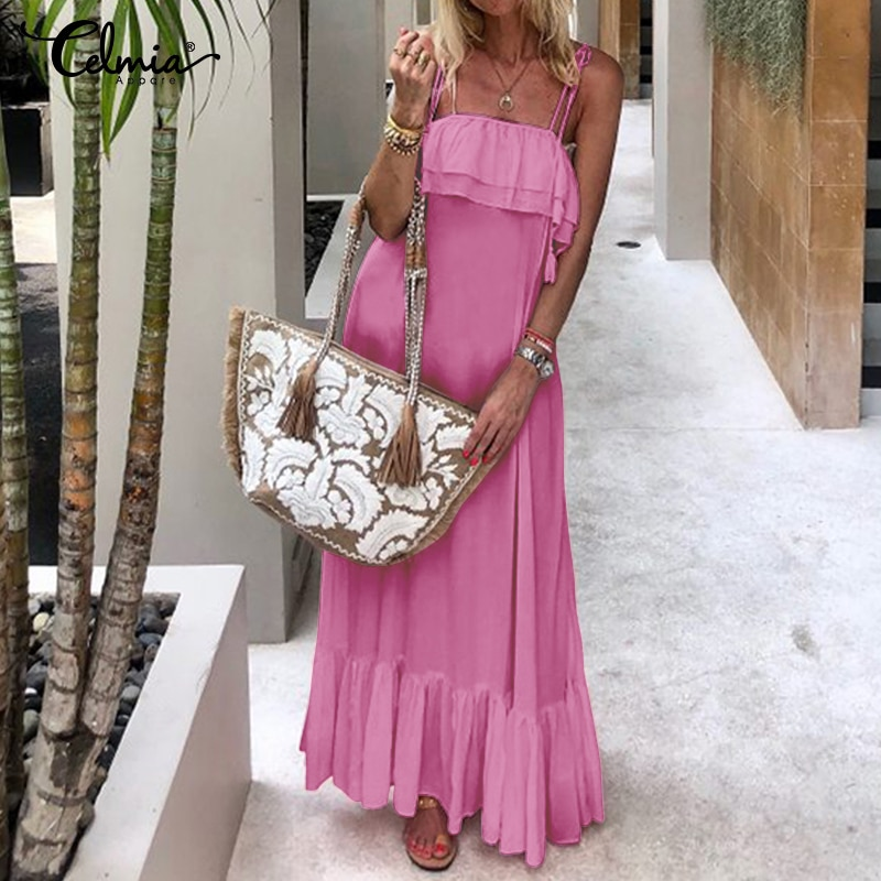 Celmia Bohemian Ruffles Dress Women Sexy Straps Sleeveless Maxi Long Vestidos 2020 Summer Casual Solid Party Robe Beach Dresses