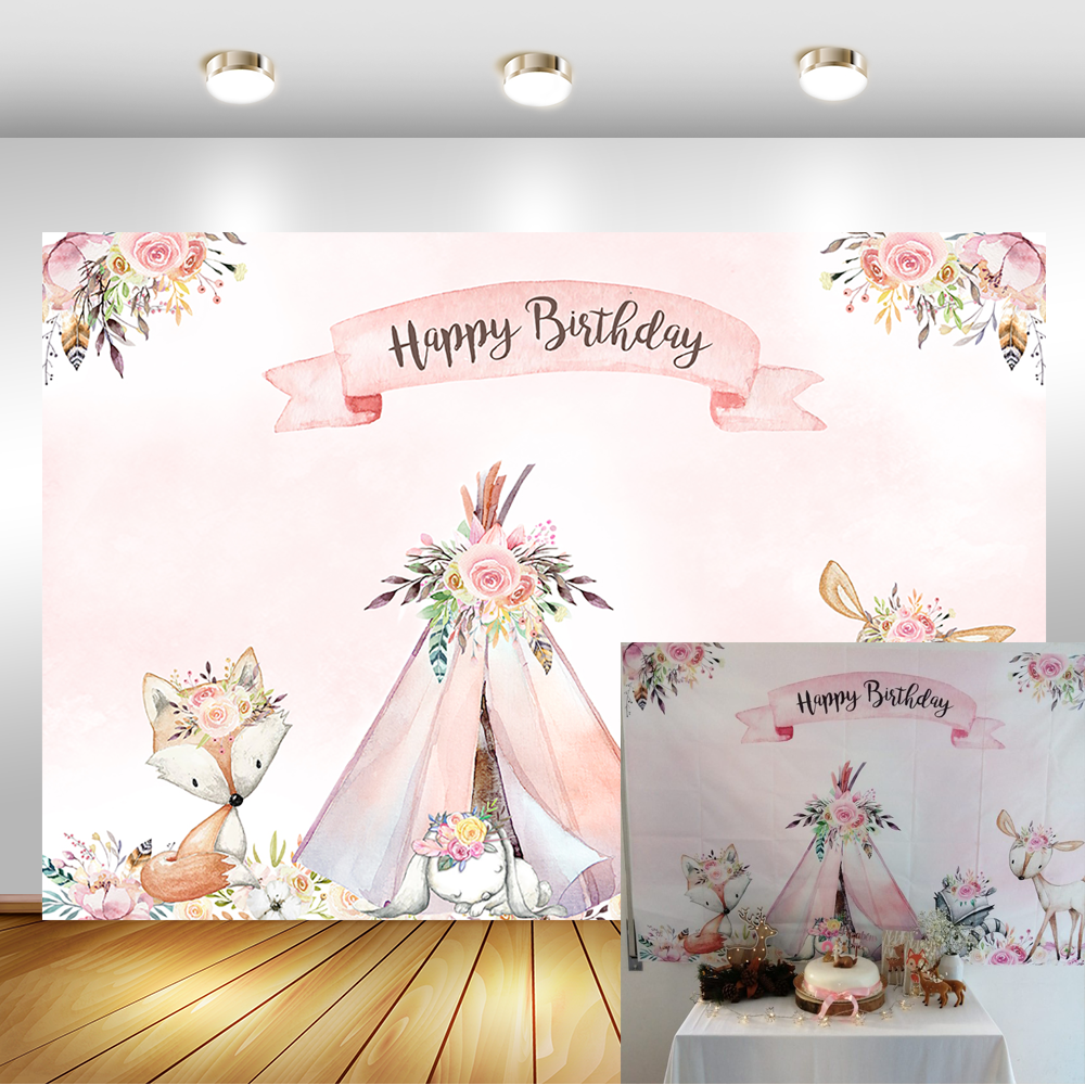NeoBack Woodland Baby Shower Backdrop Flower Boho Teepee Fox Party Banner Background Photography