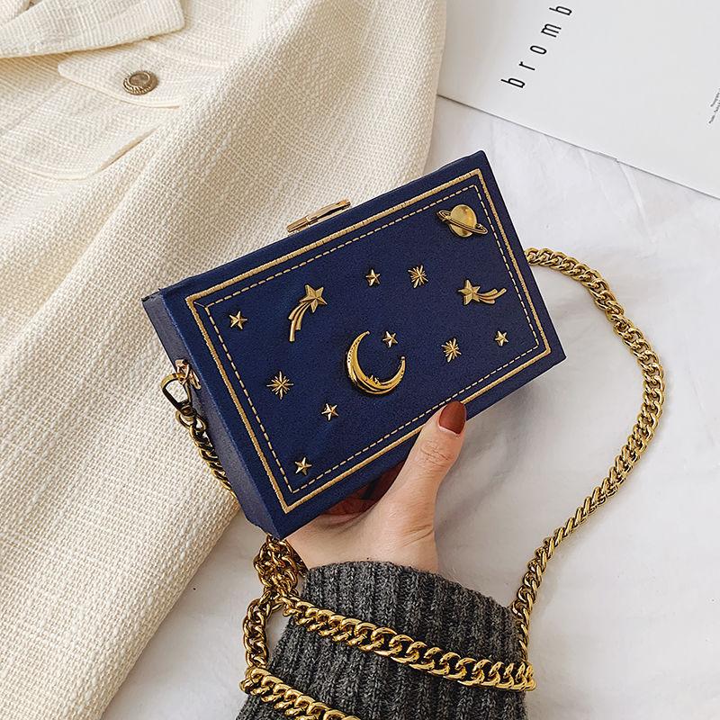 حقيبة كتف من الجلد الصناعي للبنات ، حقيبة يد صغيرة على شكل صندوق ، حقيبة ساعي بسلسلة ، أزياء السماء المرصعة بالنجوم
