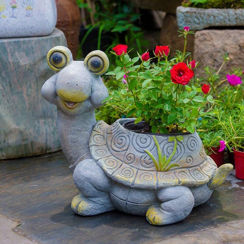 Pastoral Simulação Animal Dos Desenhos Animados da Resina Tartaruga Caracol Vaso Enfeites de Jardim Do Pátio Ao Ar Livre Mobiliário Decoração Artesanato