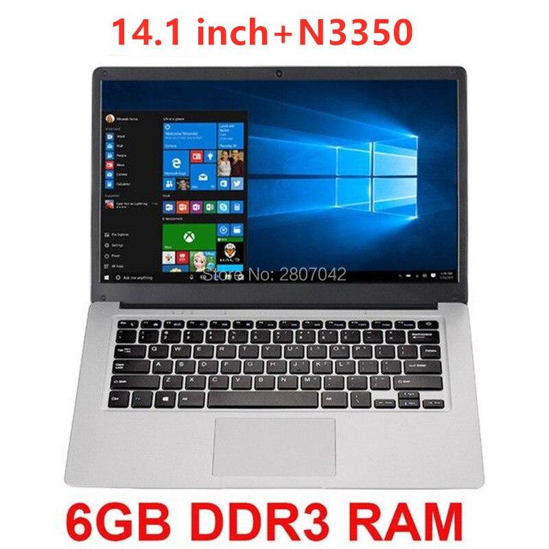 2020 günstige 14,1 zoll Student Laptop 6GB RAM 64GB Notebook N3350 Quad Core Ultrabook Mit Webcam Bluetooth WiFi Laptops    -