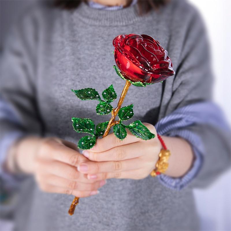 H & D-تماثيل وردة كريستالية حمراء ، مصنوعة يدويًا ، لهدايا أعياد الميلاد ، عيد الحب ، ديكور طاولة الزفاف ، المنزل