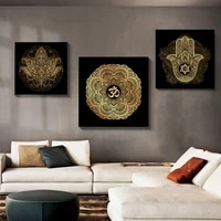 religious mandala lotus canvas painting abstract hamsa hand buddhism posters and prints living room home decor wall art picture
