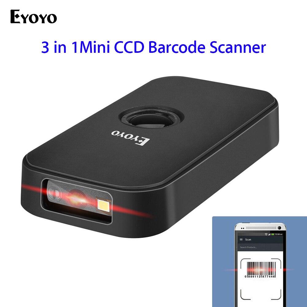 Eyoyo مصغر الباركود الماسح الضوئي ، CCD بلوتوث و USB السلكية و 2.4 اللاسلكية 1D بار كود قارئ المحمولة صورة الماسح الضوئي شاشة المسح الضوئي