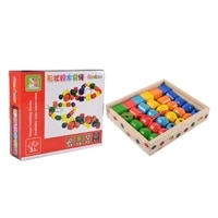 geometric shape wooden lacing beads kids montessori blocks threading educational toy gift for children c5af