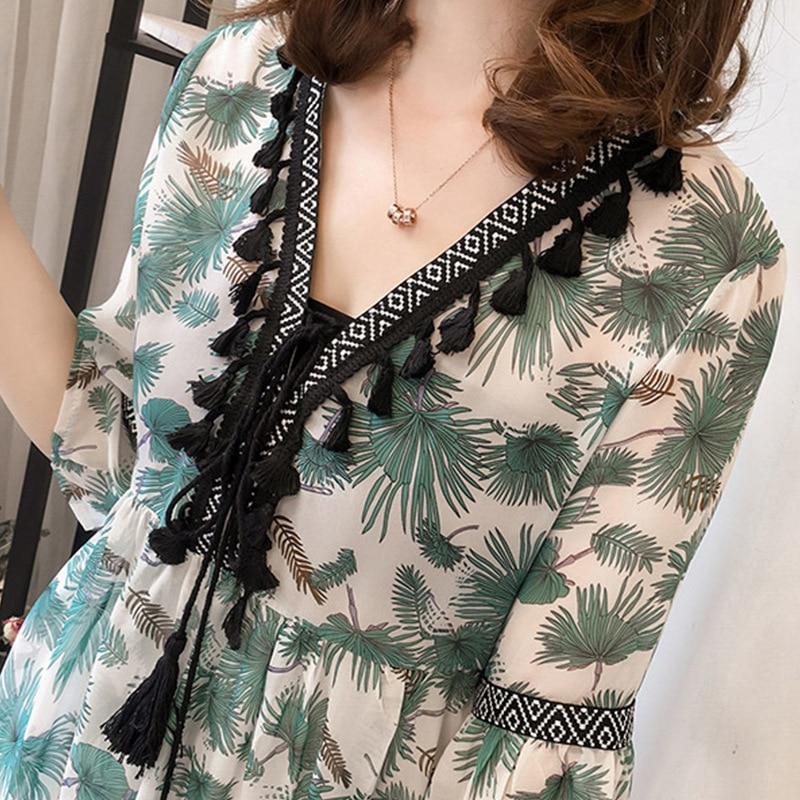 yg-brand-women's-wear-summer-floral-chiffon-large-loose-v-neck-top-tassel-flared-sleeve-retro-chiffon-t-shirt