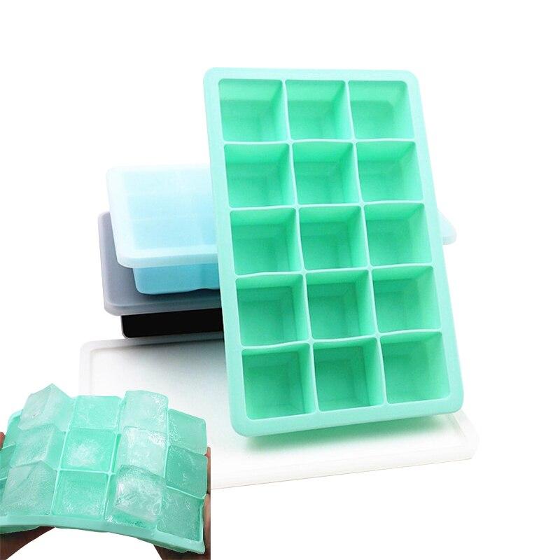 15 rejillas de silicona forma cuadrada forma de cubo de hielo molde bandeja de helado de paleta de fruta para beber Bar de cocina de vino accesorios
