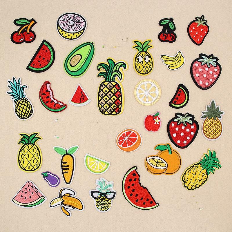 Nuevo 1 Pza sandía cereza fresa piña aguacate fruta bordado parches para ropa hierro en ropa apliques insignia