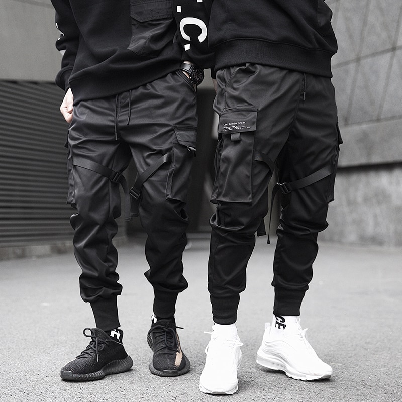 2021 Men Cargo Pants Black Ribbons Block Multi-Pocket Harem Joggers Harajuku Sweatpant Hip Hop Casua