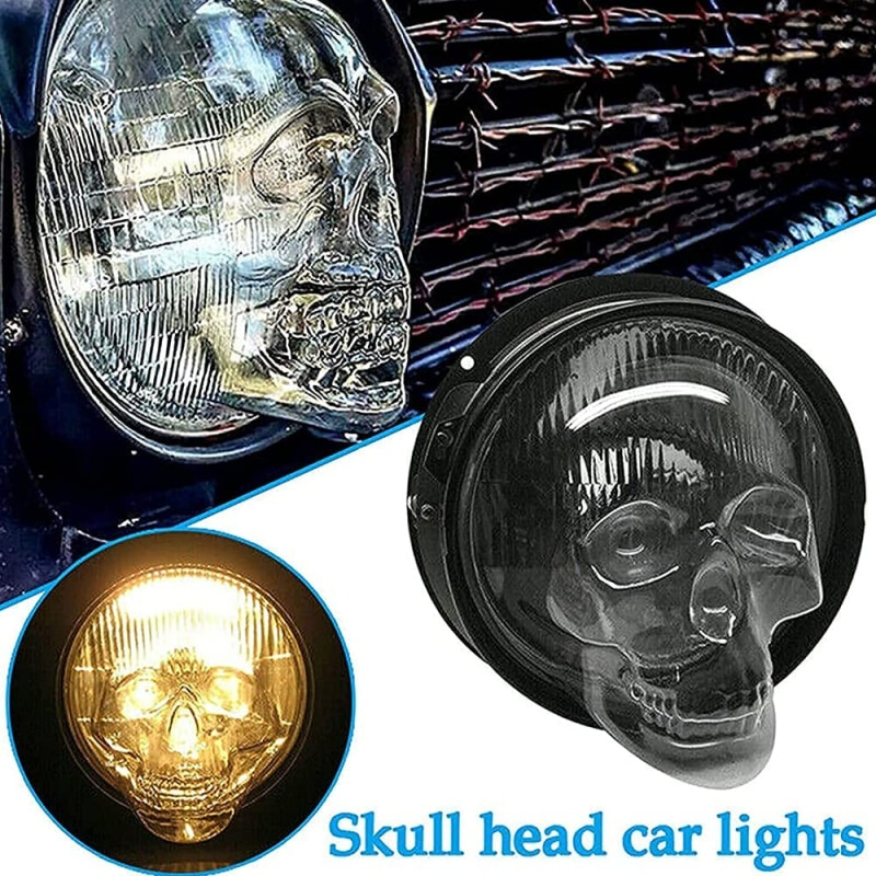 Skull Headlight Covers Truck Auto Universal Decor Protective Head Lamp Accessories Car Front Fog Light Lamp Hoods Bulb Cover