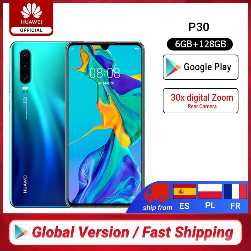 Глобальная версия huawei P30 6 ГБ 128 ГБ Kirin 980 смартфон с цифровым зумом 30x Quad camera 6,1 дюйма полный экран OLED NFC 3650 мАч