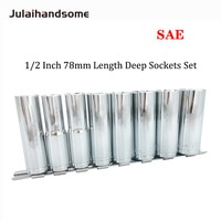 "1/2 Inch Drive Deep Socket SAE Size 1/2"" 9/16"" 5/8"" 11/16"" 3/4"" 13/16"" 7/8"" 15/16"" 78mm Length CR-V"