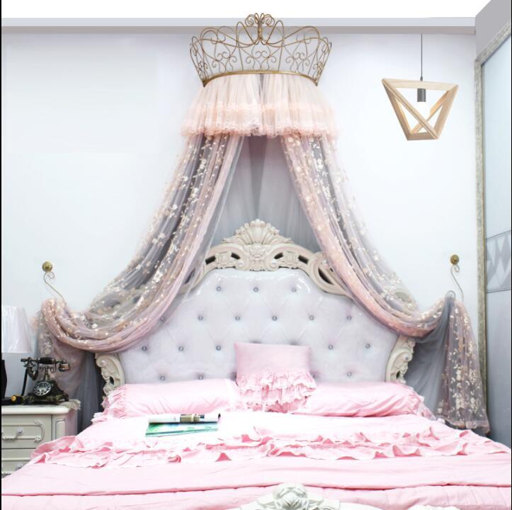 ستارة شاش دانتيل على طراز الأميرة 1.8 متر ، ستارة شاش أوروبية ، حامل تاج ، ناموسية 1.5 متر ، ديكور غرفة نوم للبنات