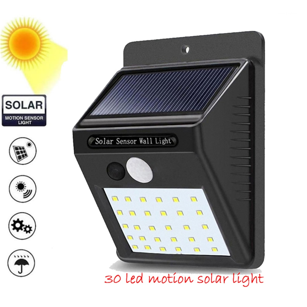 1-4 Uds Sensor de movimiento PIR 30 LED luz Solar al aire libre Solar alimentado luz LED para jardín lámpara de pared de emergencia impermeable con Cable ene