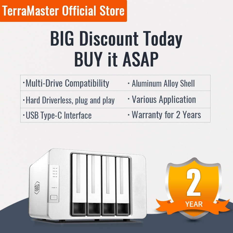 TerraMaster D4-300 USB 3.1(Gen1) Type-C Storage External Hard Drive Enclosure Hot Swappable (Diskless)