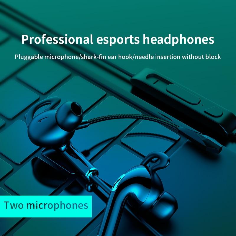 Akp9 3.5mm com fio fones de ouvido estéreo, jogo fone de ouvido esportes música correndo fone de ouvido com microfone duplo