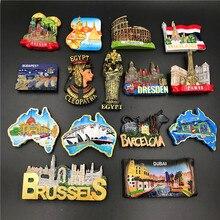 Belgique barcelone 3D réfrigérateur aimant Souvenir cracovie hongrie dubaï egypte italie espagne dresde bruxelles Rome cléopâtre artisanat décor