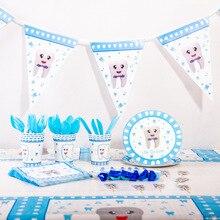 Décoration de fête thème ma première dent garçon   Rose bleu fille, vaisselle assiette gobelet en papier, fournitures de fête prénatale anniversaire enfants, nouvelle collection