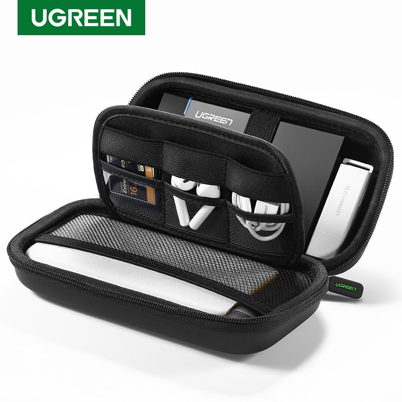 Ugreen Power Bank Case Hard Case Box for 2.5 Hard Drive Disk USB Cable External Storage Carrying SSD