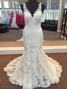 Real Image Appliqued Lace Wedding Dress Mermaid V Neck Sleeveless Bridal Gowns Sweep Trail vestido de noiva Custom Size