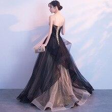 Fashion ladies dress high-end evening dress female gas field queen party black long banquet temperament noble host dress new