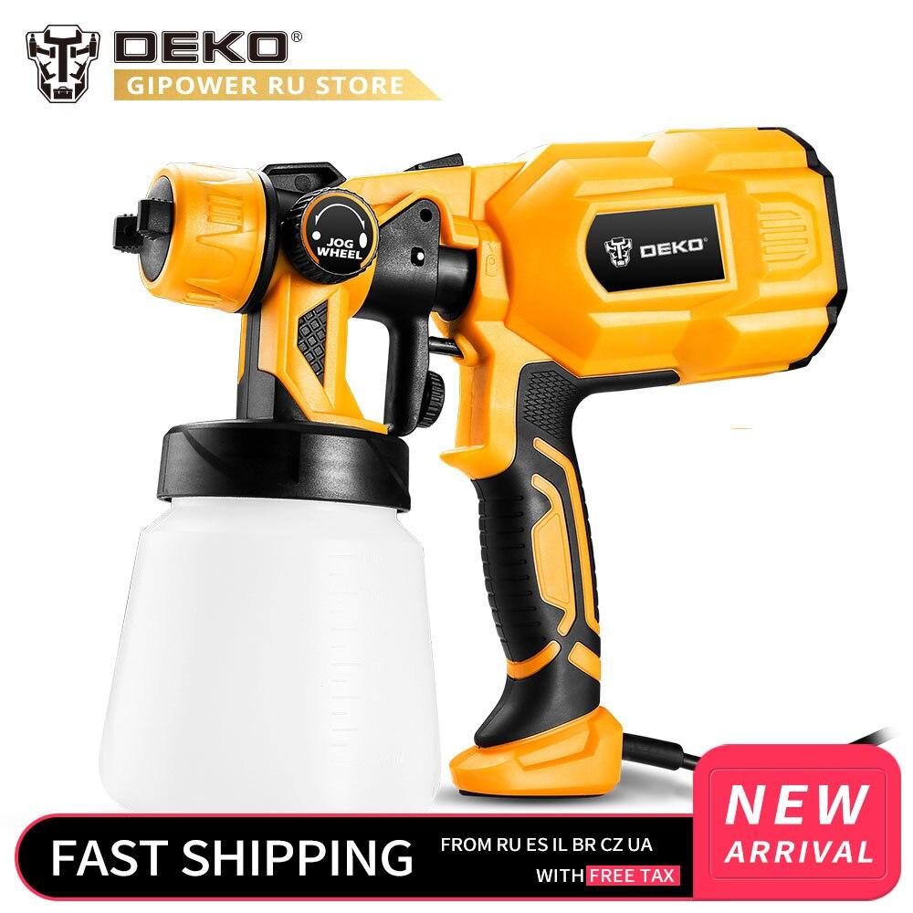DEKO DKSG55K1 220V Handheld Spray Gun Paint Sprayers High Power Home Electric Airbrush Easy Spraying 3 Nozzle