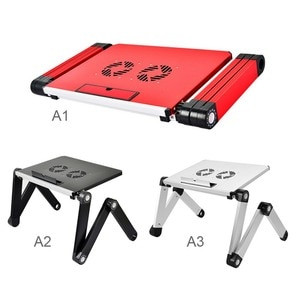 Adjustable Aluminum Laptop Bed Tray Desk Ergonomic TV Bed Lapdesk Tray PC Table Stand Notebook With Mouse Pad Portable *