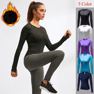 Women Gym Yoga Clothes Winter Plush long sleeve Solid Color High Elastic Yoga Shirt Fitness Clothes for Women Workout Sportswear