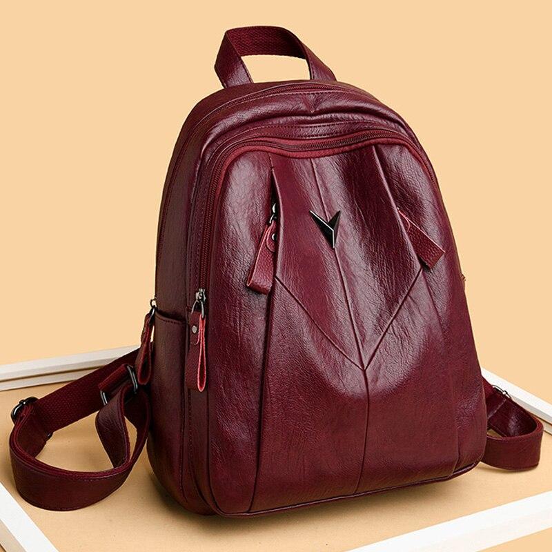 2020 Female Back Pack Women Leather Backpacks High Quality Vintage Bagpack Girls Preppy Style Solid Back Pack Mochila Feminina