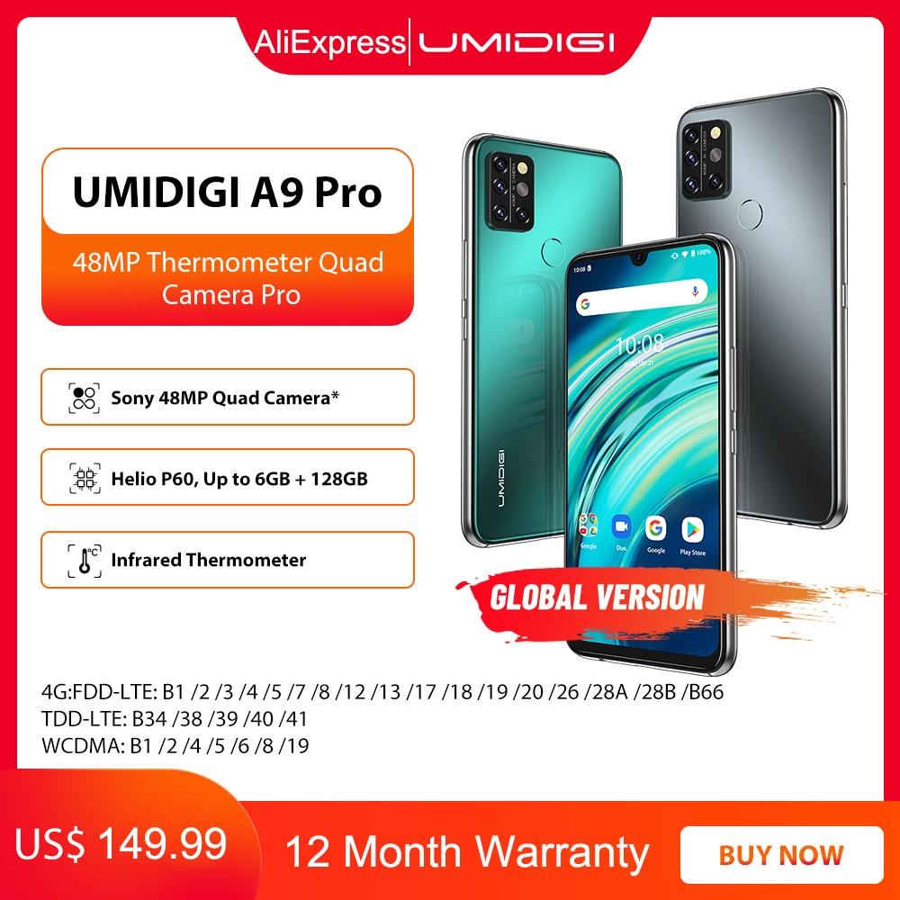 Перейти на Алиэкспресс и купить UMIDIGI A9 Pro 6 ГБ 128 Гб Смартфон глобальная версия разблокирована 48MP Quad Camera 24MP селфи Helio P60 6,3 дюймFHD + безрамочный экран смарт-чехол для телефона чехол ...
