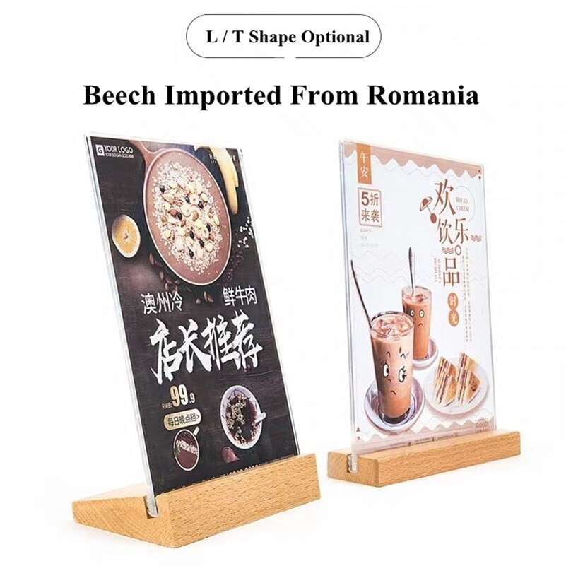 A6 Table Tent Wood Acrylic Menu Paper Sign Holder Stand Price Ticket Holder Poster Picture Photo Frame For Christmas Advertising недорого