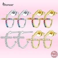 bamoer 2021 new 925 sterling silver cross stud earrings for women luxury colorful zircon wedding glamorous jewelry gift gxe755