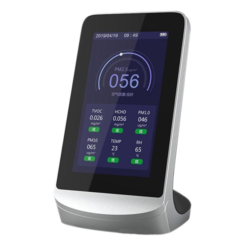 كاشف الهواء الذكي لمراقبة جودة الهواء ، مستشعر الغاز متعدد الوظائف TVOC CO2 PM2.5 ، متوافق مع تطبيق Tuya