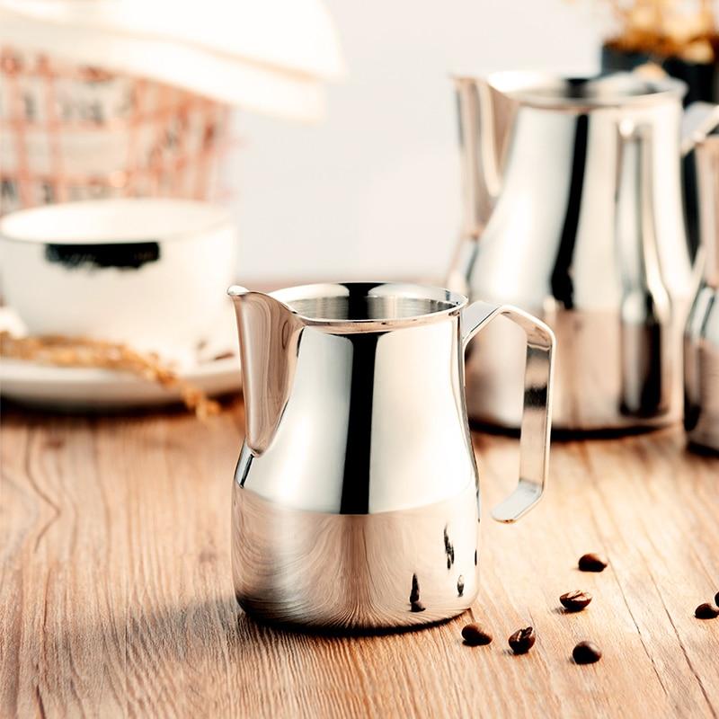 إبريق الحليب إبريق الفولاذ المقاوم للصدأ 18/8 درجة التجارية مزبد إبريق 12 أوقية المهنية باريستا milksteming إبريق كوب