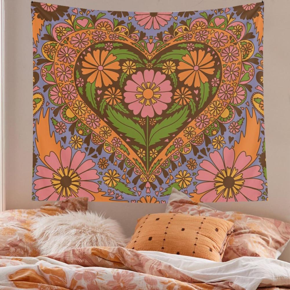Винтаж цветок настенный гобелен 80S фоновая фотография в стиле ретро Настенный декор гобелены Спальня дром номер 90S Цветочное сердце настенн...