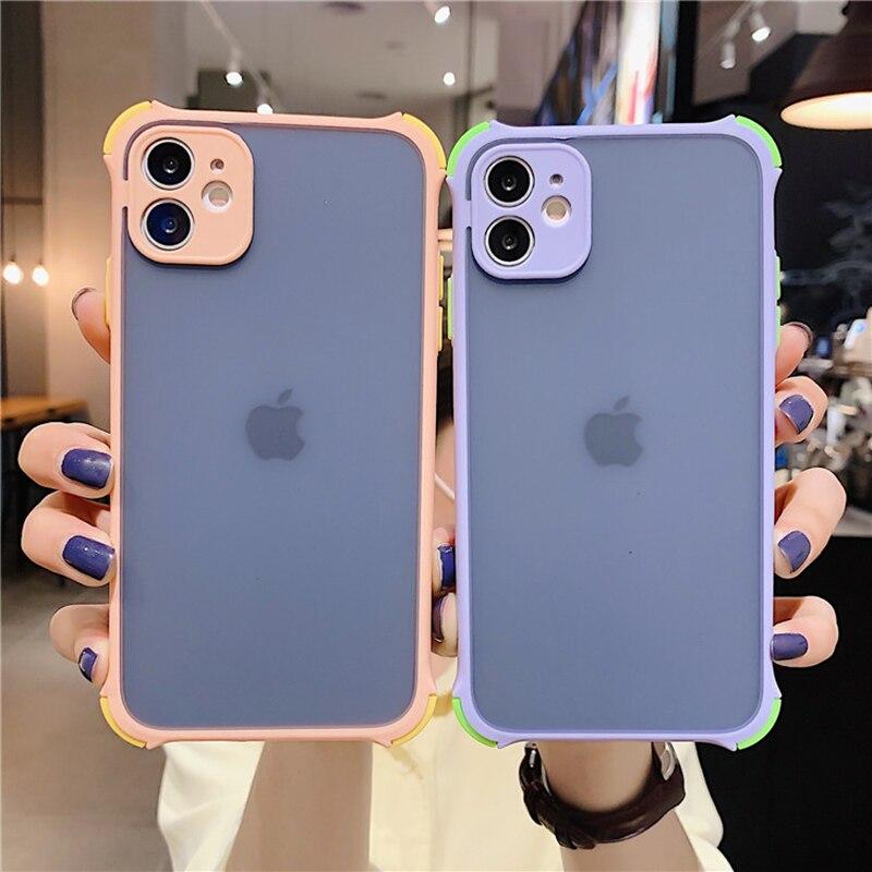 Proteção da câmera contraste cor moldura macia caso de telefone para o iphone 11 pro se 2020 x xr xs max 8 7 6 plus claro disco capa traseira
